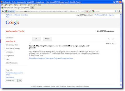 Pesan Keberhasilan Asosiasi Blog dalam Google Analytics Property