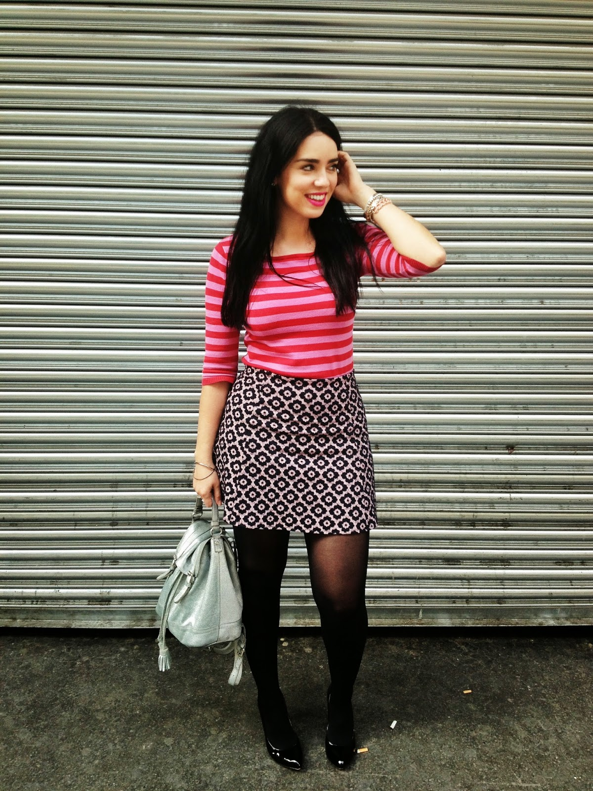 Emma Louise Layla in pink red stripes and floral print - London fashion blogger