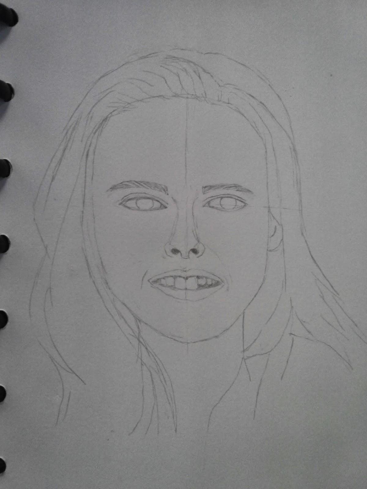 Kemudian saya mulai menggambar dari bagian bawah wajah bibir hidung mata alis rambut gambar dibawah ini adalah sketsa kasarnya