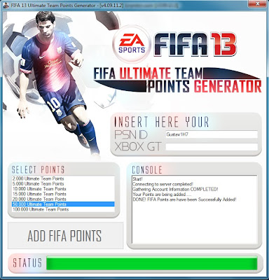 FIFA 13 Ultimate Team Points Generator Free FUT Key 2013
