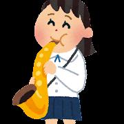 サックスフォンを演奏する女子学生のイラスト(吹奏楽)