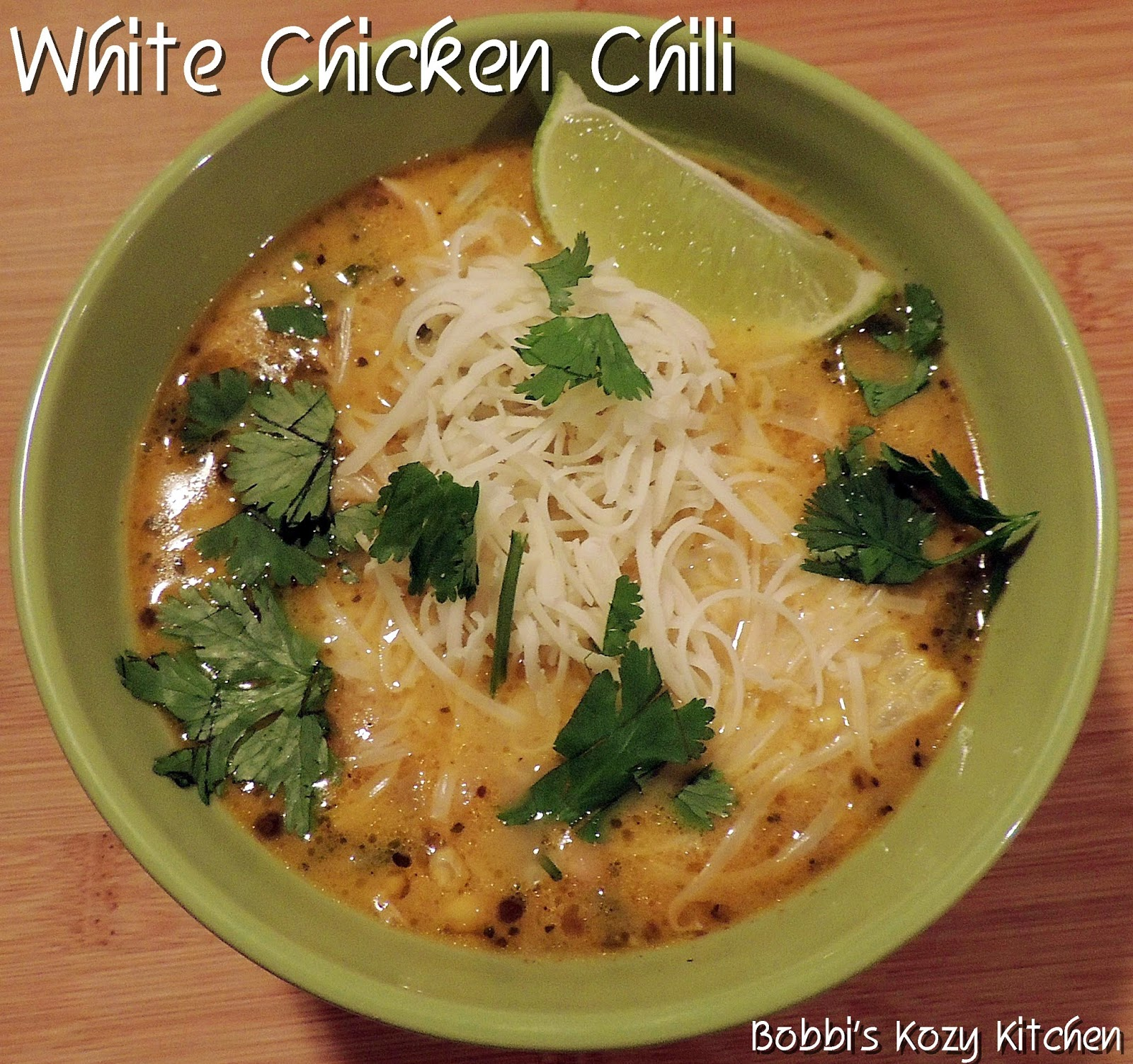 Creamy White Chicken Chili with Roasted Poblano Peppers | Bobbi's Kozy ...