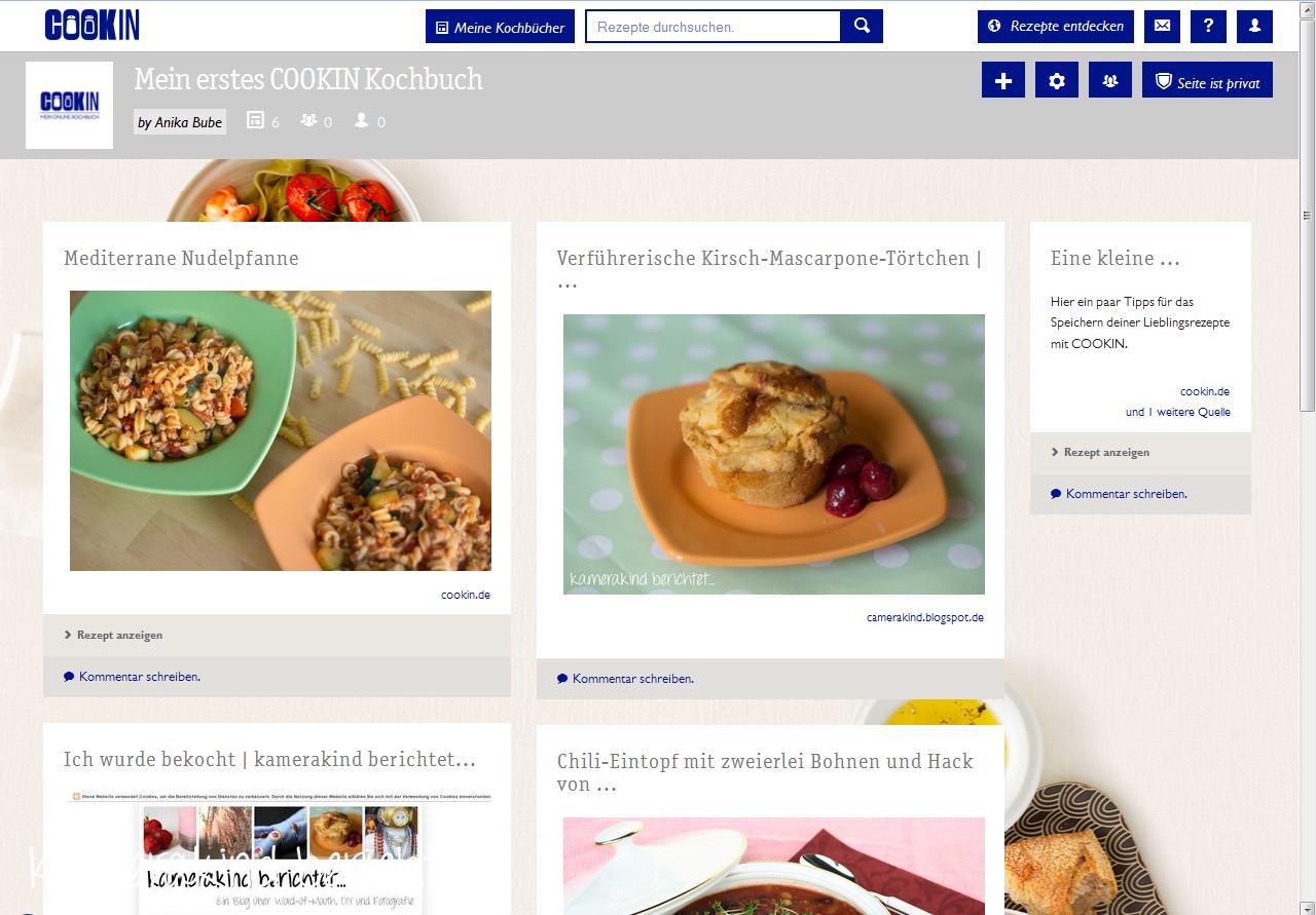 Benutzeroberfläche Cookin mit erstem Rezept