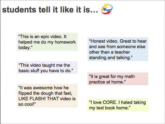 """This is an epic video. It helped me do my homework today."" ""This video taught me the basic stuff you have to do."" ""It was awesome how he flipped the dough that fast, LIKE FLASH! THAT video is so cool!"" ""I love CORE. I hated taking my textbook home."" ""It is great for my math practice at home."" ""Honest video. Great to hear and see from soneone else other than a teacher standing and talking."""