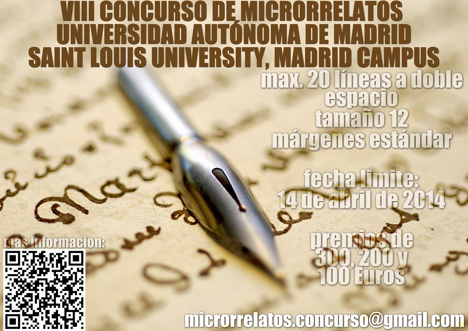 VIII edición del Concurso de Microrrelatos, Literaturas Hispánicas, Universidad Autónoma de Madrid y la Saint Louis University
