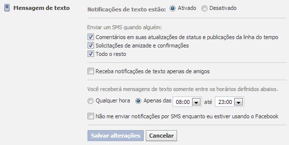 Configurar Notificações do Facebook via sms