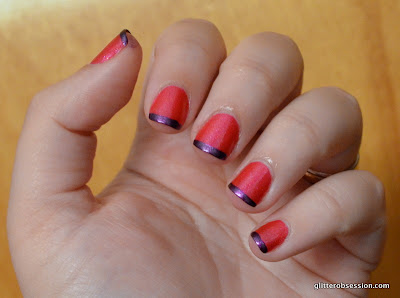 Wet N Wild Punch It Up swatch, Wet N Wild Punch It Up nail swatch, french tip, purple tips, Kleancolor Metallic Purpl