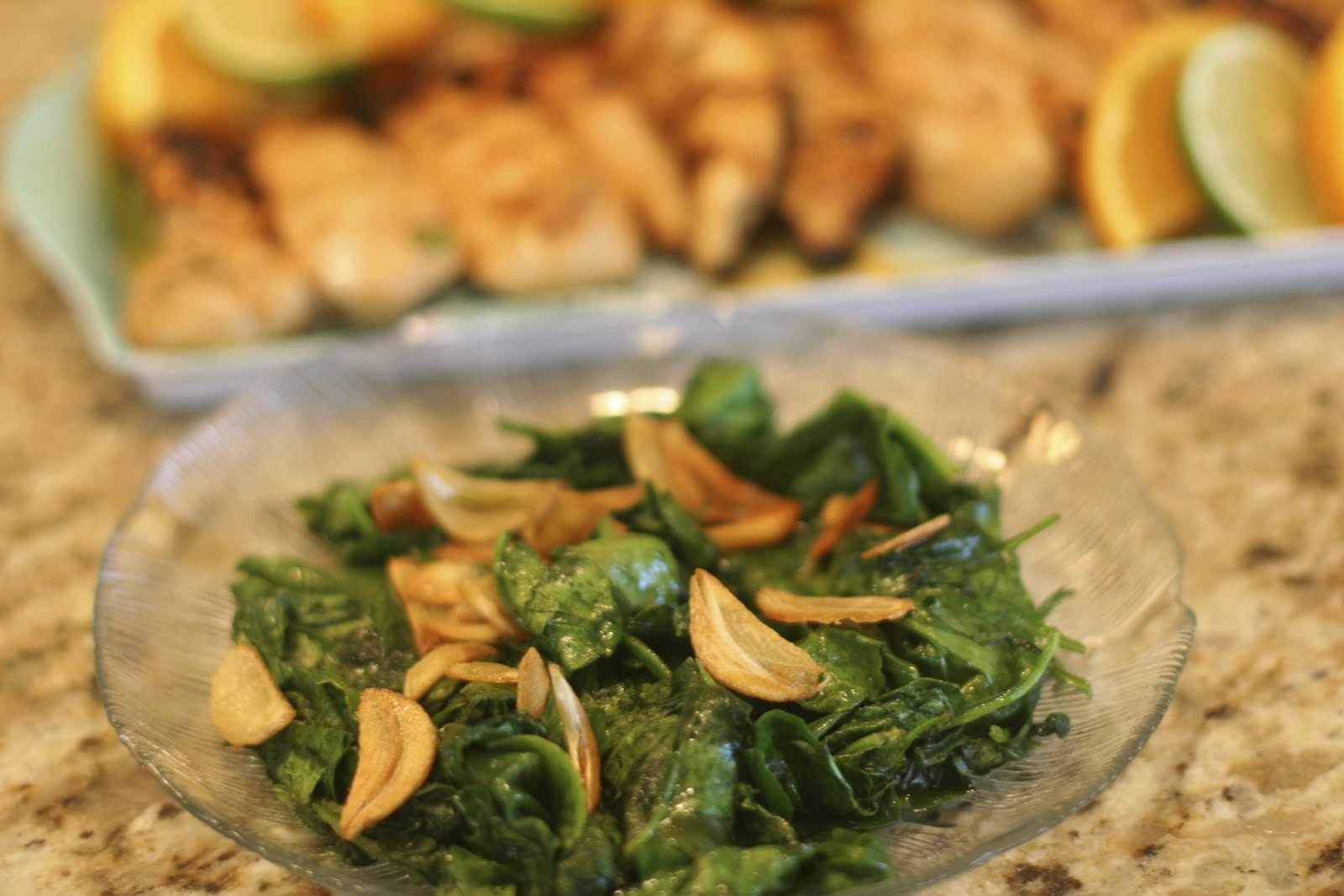 Suppers at Sunset: Spinach with Garlic Chips