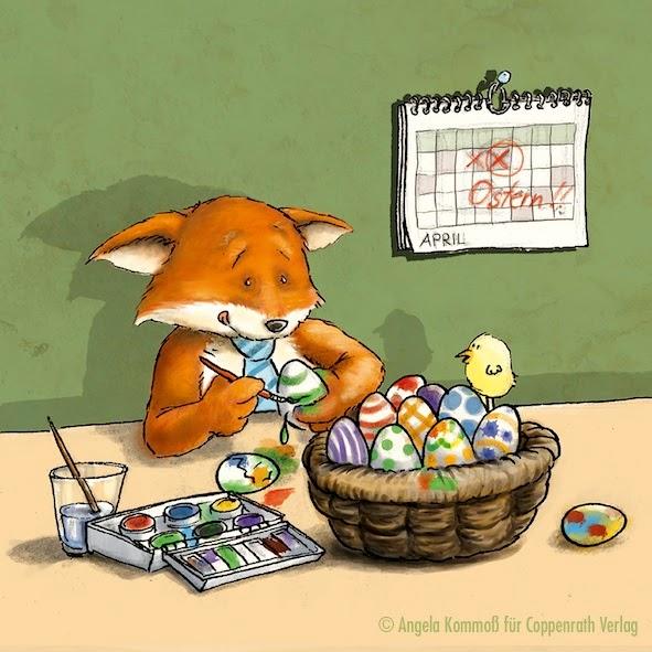 Fuchs, Illustration, Cartoon, Humor, Ostern