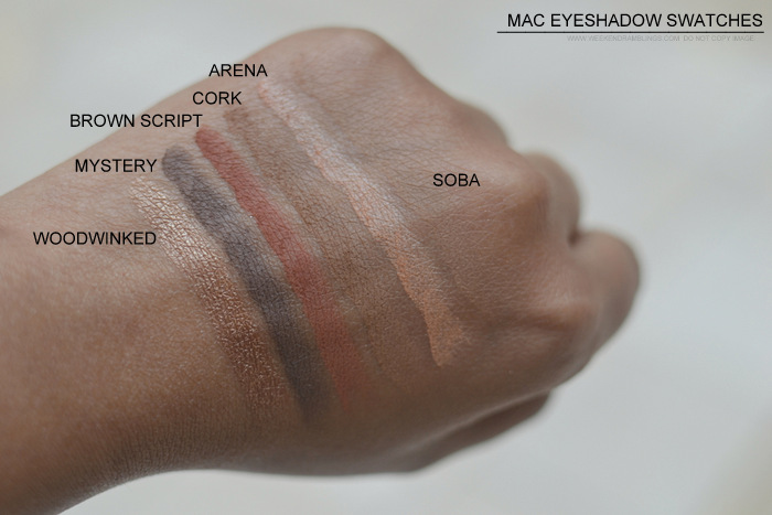 MAC Eyeshadow swatches darker Indian skin tone nc45 must have best neutral makeup beauty blog Woodwinked Mystery Brown Script Cork Arena Soba