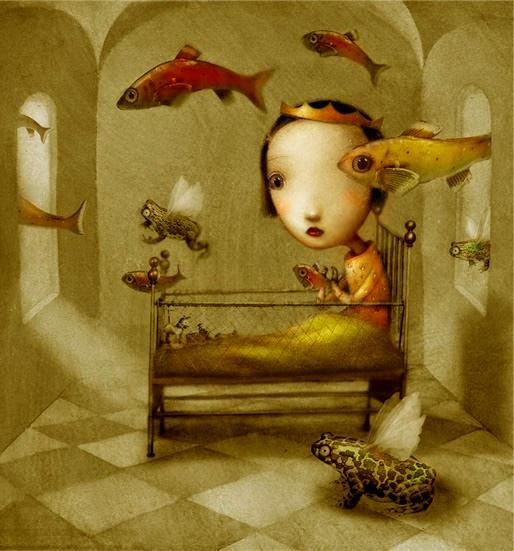 Żabi Król, Ilustracje baśni, księżniczka i żaba, Baśnie na warsztacie, Mateusz Świstak, Baśnie braci grimm,