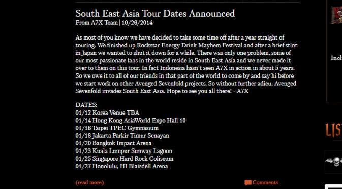 avenged sevenfold concert in Indonesia, avenged sevendfold hold a concert in Indonesia, on 18 January avenged sevenfold coming to Indonesia