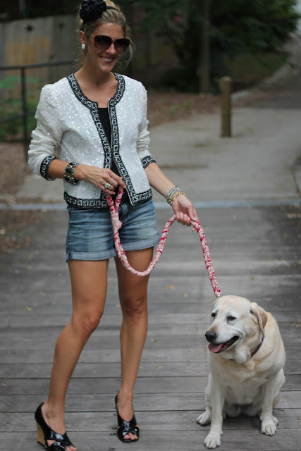 Woman Shops World Dog Leash, Beaded Jacket c/o CiGi Guz, ZoeLynn& Co. Headband, Chanel Purse, Vintage Jewelry, Gap Ribbed Tank, Jessica Simpson Denim Shorts