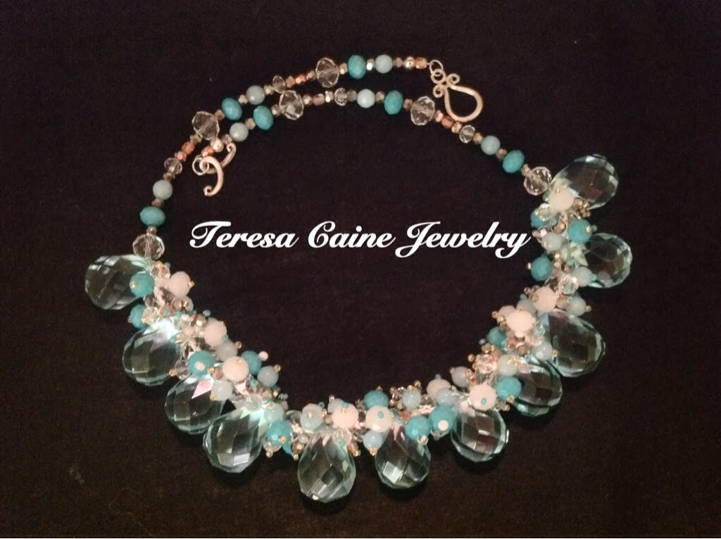 Aquamarine Quartz Crystal Cluster Necklace