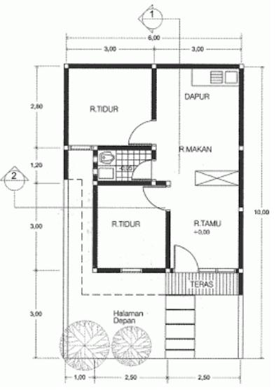 gambar denah rumah minimalis type 21
