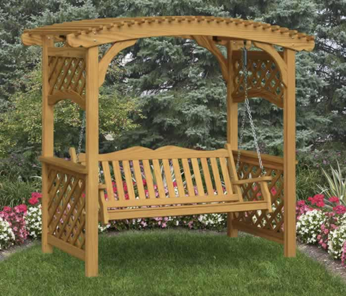 Arbor with swing arbor decal galleries for Outdoor swing plans