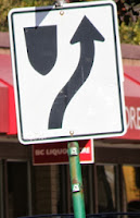 road sign. On the left is stationary shape with arrow moving forward beside on its right side