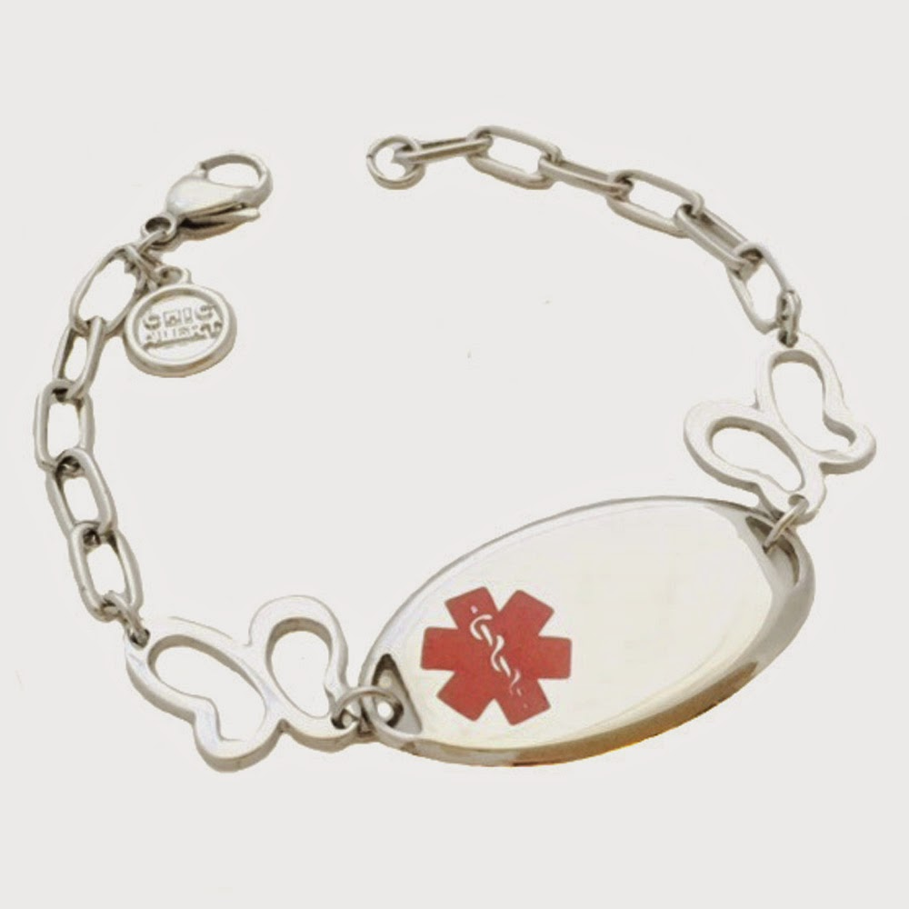 Stainless Steel Butterfly Medical ID Bracelet