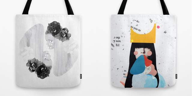 black and white collage tote bag - two women with flowers in hair and collage of girl wearing crown tote bag