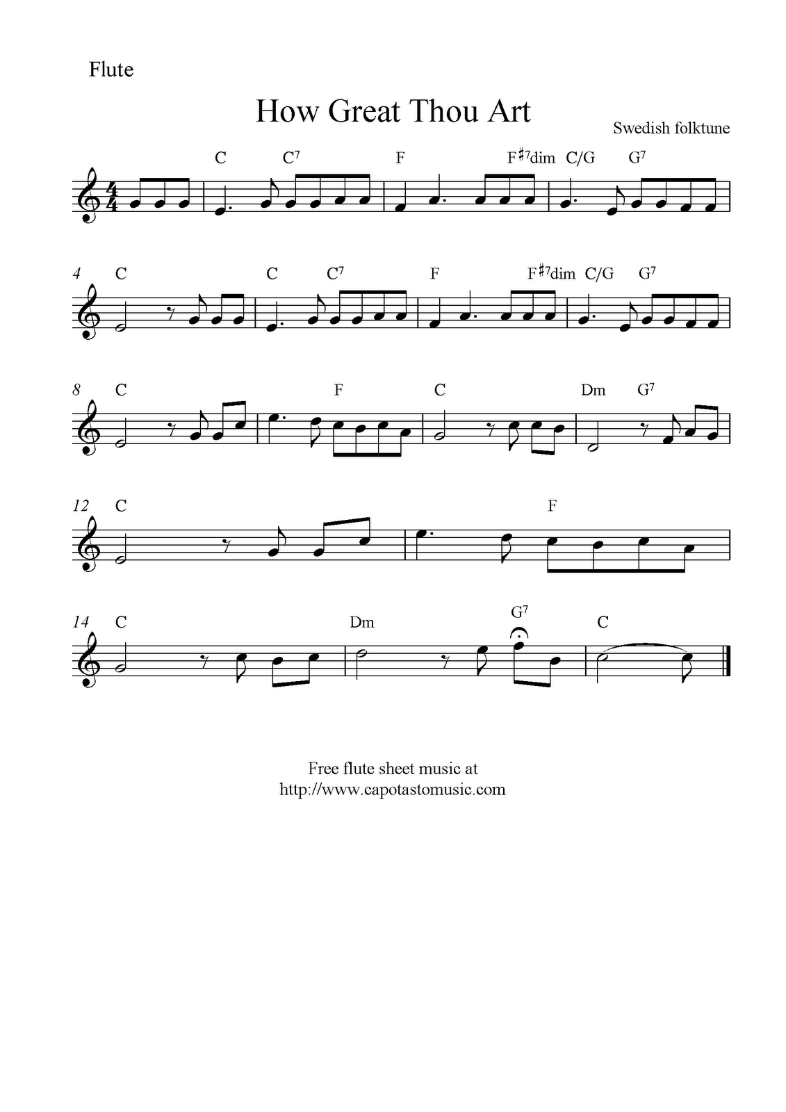 How great thou art free christian flute sheet music notes