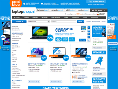 De homepage van Laptopshop.nl