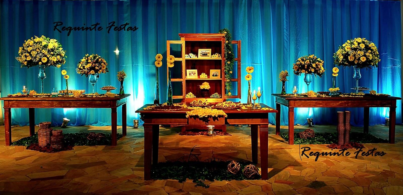 """decoracao casamento rustico azul e amarelo:REQUINTE FESTAS buffet classe""""A"""": Casamento Rústico com Azul"""