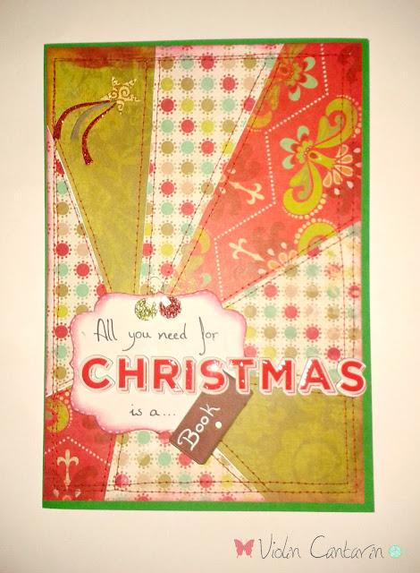 tarjeta, felicitación navideña, patchwork