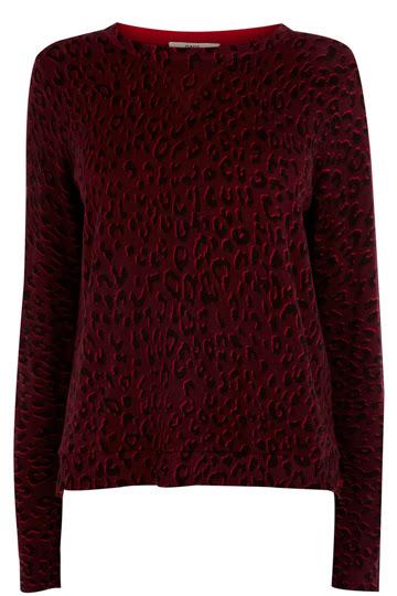 Red leopard print jumper
