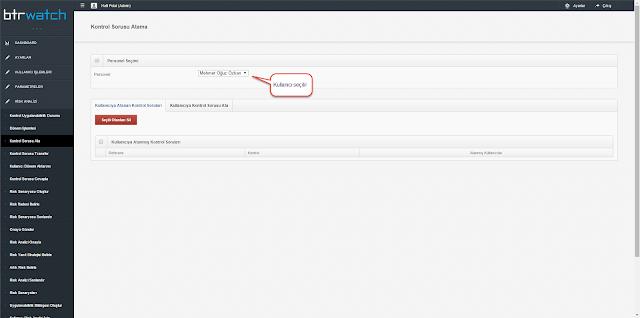 Risk analizi kullanıcılarına kontrol sorusu atama ekranı