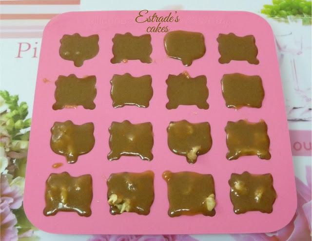 receta de caramelos de toffe al microondas - molde