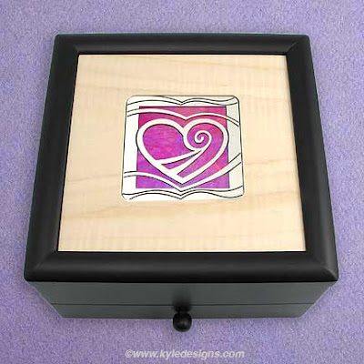 wooden jewelry box with heart
