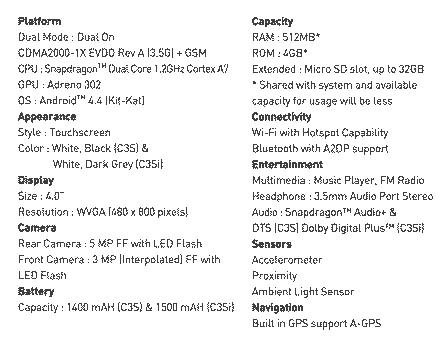 Spesifikasi Smartfren Andromax C3s