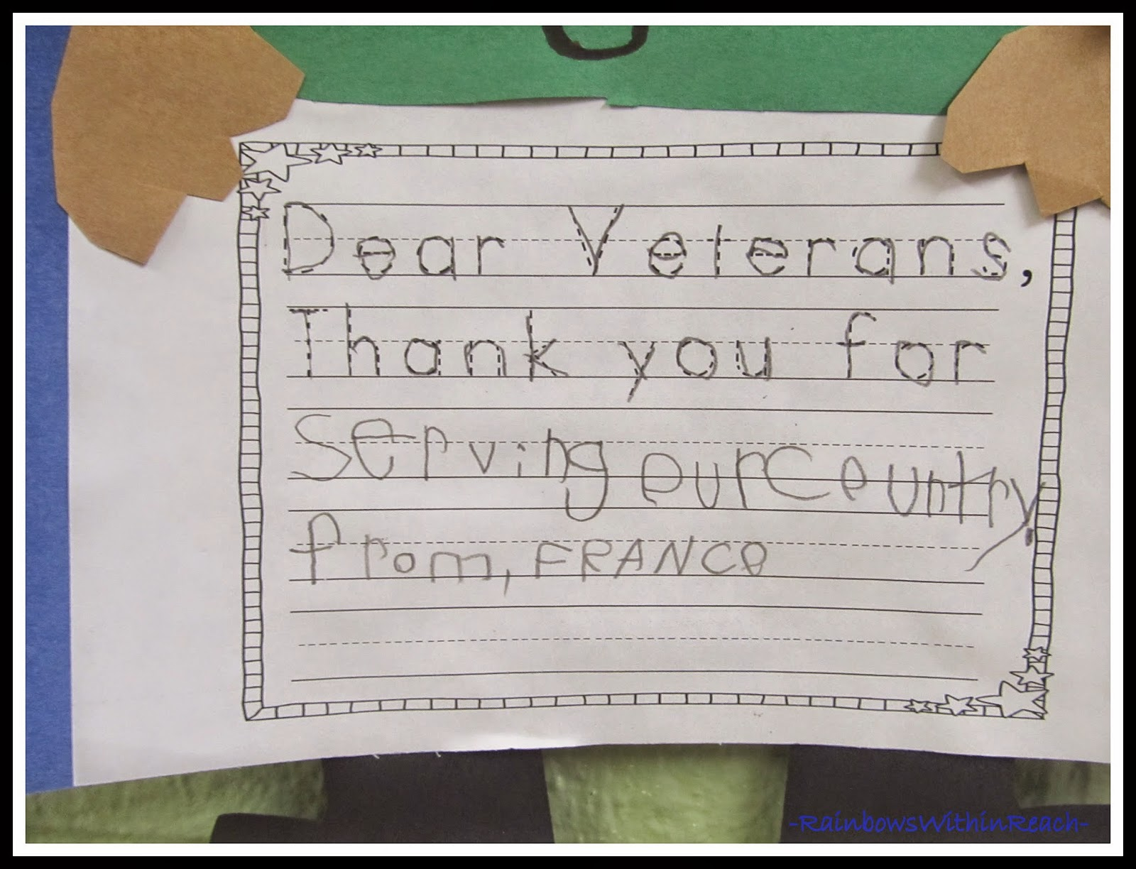 Veteran's Day Writing in Kindergarten at RainbowsWithinReach