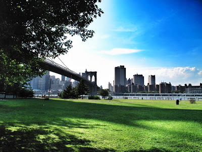 Views of New York Skyline and Brooklyn Bridge.