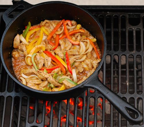 skillet pork fajitas, cast iron fajitas, grill skillet