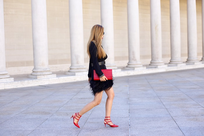 Feather trim shift dress, prada oversized sunglasses, baublebar necklace, saint laurent clutch, valentino rockstuds, valentino love latch heels, fashion blog, holiday outfit, holiday dress, fashion blog