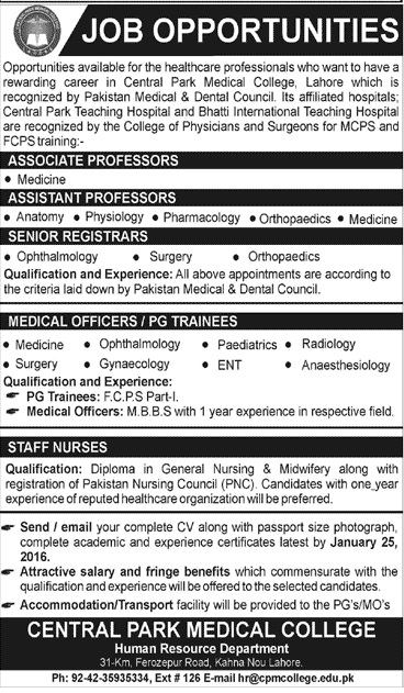 Doctors & Nurses Jobs in central Park Medical College Lahore