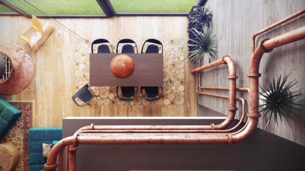 barandilla de tubos de cobre vistos