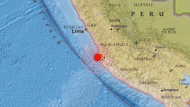 Epicentro sismo de 6,2 grados en Perú, el 15 de Marzo de 214