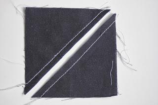 Como coser y cortar triángulos de medio cuadrado