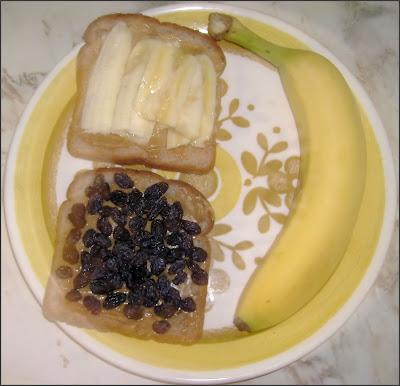 peanut butter banana raisin sandwich