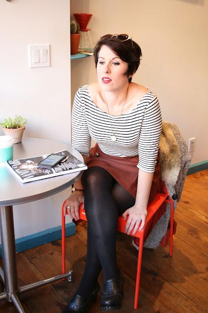 Fall Outfit, Coat, Burnt Orange Skirt, Black Clogs--Fall Outfit- Anthopologie Coat, Burnt Orange Skirt, Coffee Shop Fashion