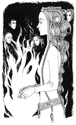 Drawing of a thin woman standing in profile with cascading hair bound by tiny braids, one braid tucks through her belt