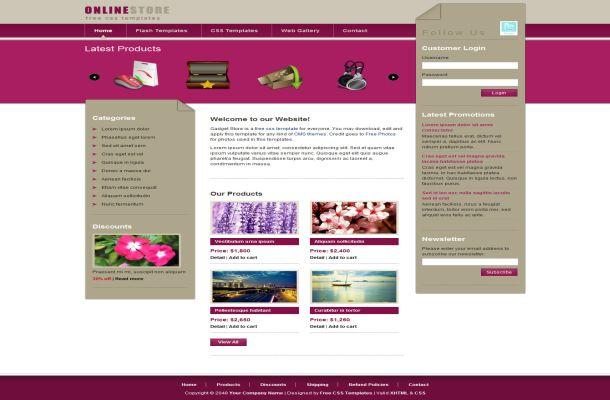 Free Pink Gadgets Shop CSS HTML Website Template
