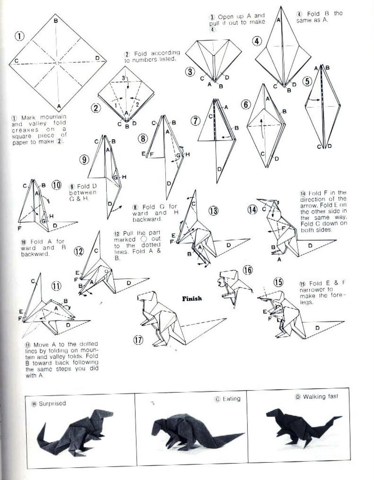 Origami Instruction Iguanodon web wanderers