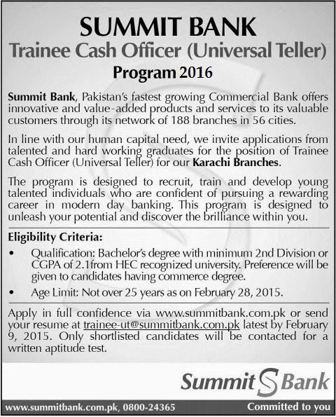 Trainee Cash Officer jobs in Summit Bank 2016