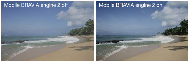Sony mobile BRAVIA engine 2 comparison