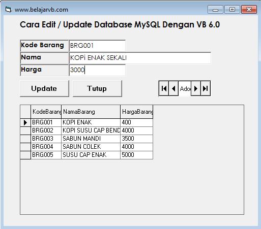 Cara Edit Database MySQL Dengan VB 6.0