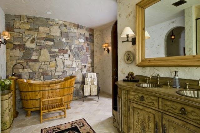 Baños Diseno Rustico:Un cuarto de baño en estilo rústico es una simbiosis de elementos
