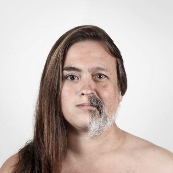 Ulric Collette fotografia surreal photoshop retratos genéticos família rostos misturados autorretratos Filha/pai - Ariane (13 anos) e André (55 anos)